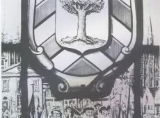 Glasraam met wapenschild Borgerhout